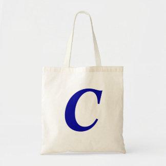 Monogram C i initial toto för blåttanpassningsbar Budget Tygkasse
