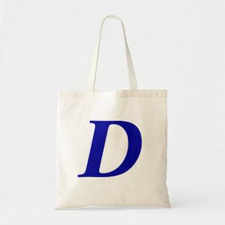 Monogram D i initial toto för blåttanpassningsbar Budget Tygkasse