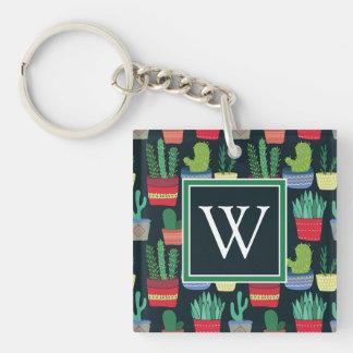 Monogram   en folkmassa av kaktusen fyrkantigt dubbelsidigt nyckelring i akryl
