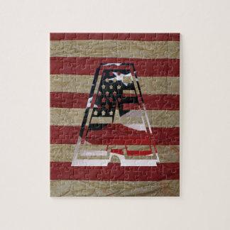 Monogram en initial USA flaggaamerikan Pussel