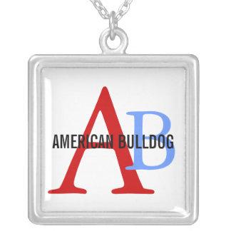 Monogram för amerikanbulldoggavel silverpläterat halsband