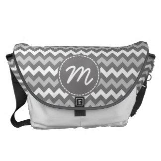 Monogram för anpassningsbar för grått- och vitspar kurir väskor