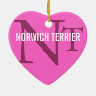 Monogram för avel för Norwich Terrier Julgransprydnad Keramik
