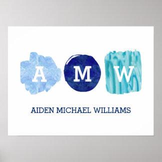 Monogram för blått för vattenfärg för poster