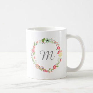 Monogram för blommakranvattenfärg kaffemugg
