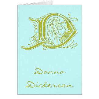 Monogram för brev D för krusidull olivgrön OBS Kort
