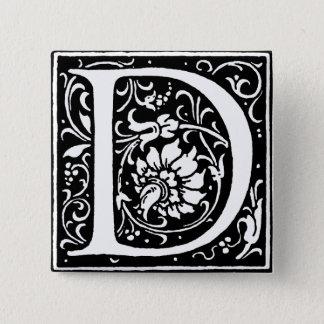 Monogram för brev D Standard Kanpp Fyrkantig 5.1 Cm