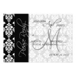 Monogram för damast 2 för bröllop OSAkort svart Anpassade Inbjudningskort