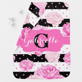 Monogram för flicka för rosa vattenfärg för randar bebisfilt