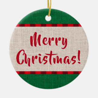 Monogram för god julBurlapstruktur Julgransprydnad Keramik