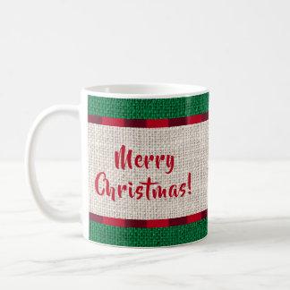 Monogram för god julBurlapstruktur Kaffemugg