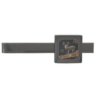 Monogram för grått för kol för bock för Mulehjort Slipsnål Med Metallgråfinish