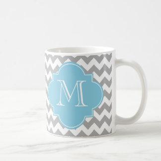 Monogram för grått- och kaffemugg