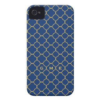 Monogram för gult 3 för marin för Quatrefoil Case-Mate iPhone 4 Skydd