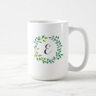 Monogram för kran | för vattenfärggröntlöv vit mugg