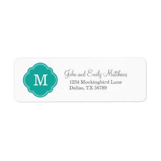 Monogram för krickaanpassningsbarpersonlig returadress etikett