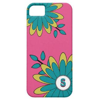 Monogram för limefrukt för Boho chic blom- shock iPhone 5 Case-Mate Skydd