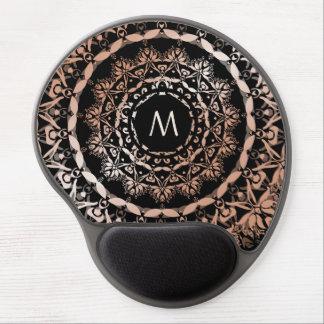 Monogram för Mandala för rosa guldsvart blom- Gel Musmatta