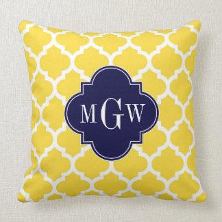 Monogram för marin #5 initial 3 för ananas vita dekorativ kudde
