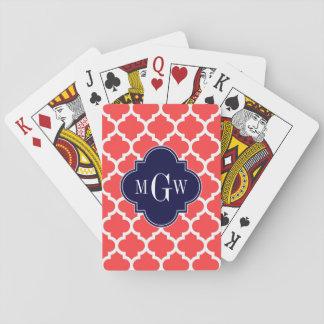 Monogram för marin #5 initial 3 för korall röda casinokort