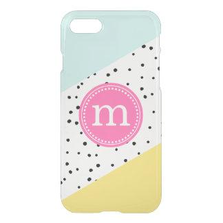 Monogram för mint-, rosa- & gultsommarpersonlig iPhone 7 skal