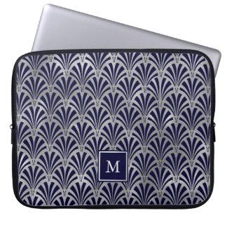 Monogram för modern konstDeco | marin och Laptop Sleeve