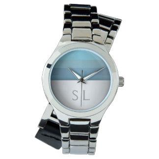 Monogram för mönster för blåttturkosrandar armbandsur