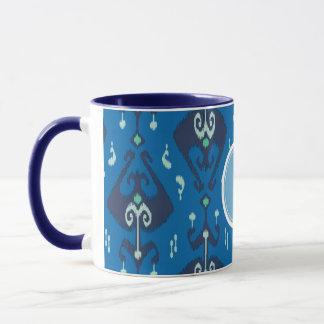 Monogram för mönster för chic modern blåttikat mugg