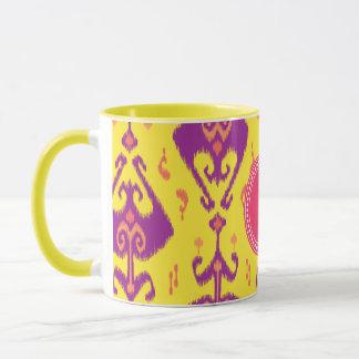 Monogram för mönster för flickaktigt gul ikat för