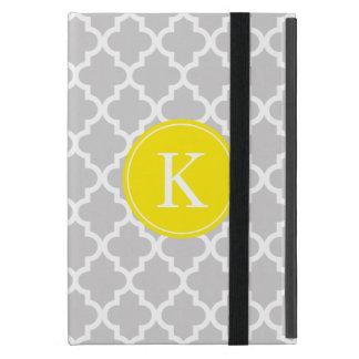 Monogram för mönster för grå färgcitron marockansk iPad mini fodral