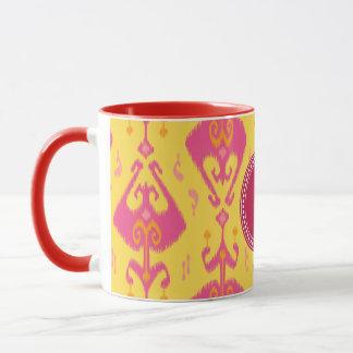 Monogram för mönster för gullig rosagultikat stam- mugg