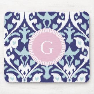 Monogram för mönster för modern för blått ikat musmatta