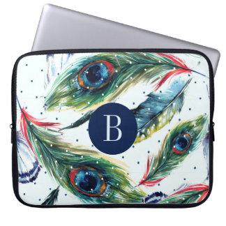 Monogram för mönster för påfågelBoho fjädrar Laptop Sleeve