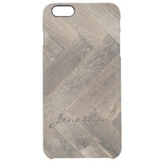 Monogram för mönster för sicksack för Oakträ Clear iPhone 6 Plus Skal