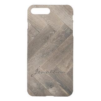 Monogram för mönster för sicksack för Oakträ iPhone 7 Plus Skal