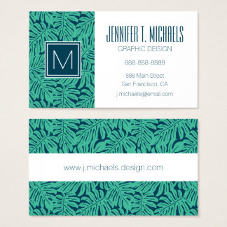 Monogram för Monstera tropisk lövmönster | Visitkort
