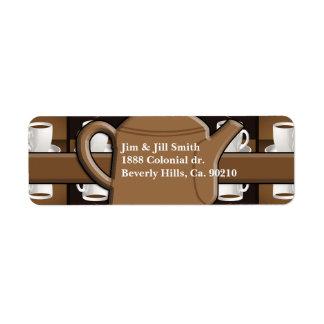 Monogram för mosaik för kaffekaffekaffe returadress etikett