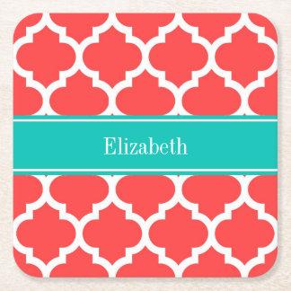 Monogram för namn för kricka #5 för korall röd vit underlägg papper kvadrat