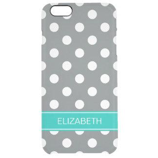 Monogram för namn för kricka för polka dots #2 för clear iPhone 6 plus skal