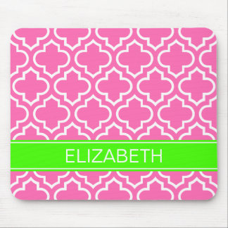 Hot Pink White Moroccan #6 Lime Name Monogram