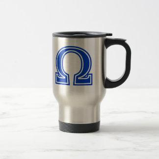 Monogram för Omega initial grekisk brevblått Resemugg