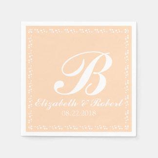 Monogram för persikavitbröllop pappersservett