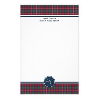 Monogram för pläd för Robertson klanTartan skotsk Brevpapper