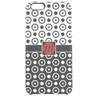 Monogram för polka dots för vit för stilfull clear iPhone 6 plus skal