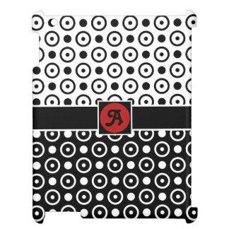 Monogram för polka dots för vit för stilfull iPad skydd
