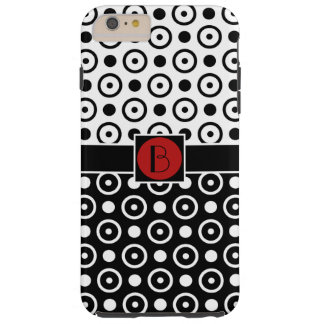 Monogram för polka dots för vit för stilfull tough iPhone 6 plus fodral