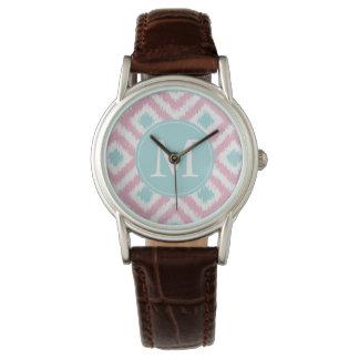Monogram för rosa- och MintIkat mönster Armbandsur