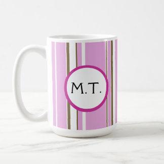 Monogram för rosabruntrand kaffemugg