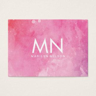 Monogram för rosavattenfärg visitkort