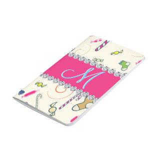 Monogram för shock rosadiamantcandy cane anteckningsbok